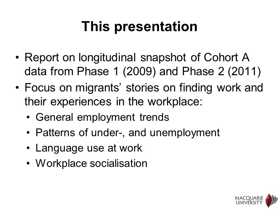 5 This presentation Report on longitudinal snapshot of Cohort A data from Phase 1 (2009) and Phase 2 (2011) Focus on migrants stories on finding work