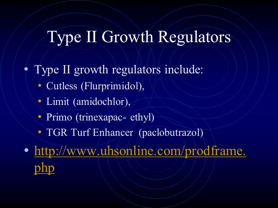 Type II Growth Regulators Type II growth regulators work by inhibiting biosynthesis of gibberellin. Since, gibberellin causes cell elongation, little