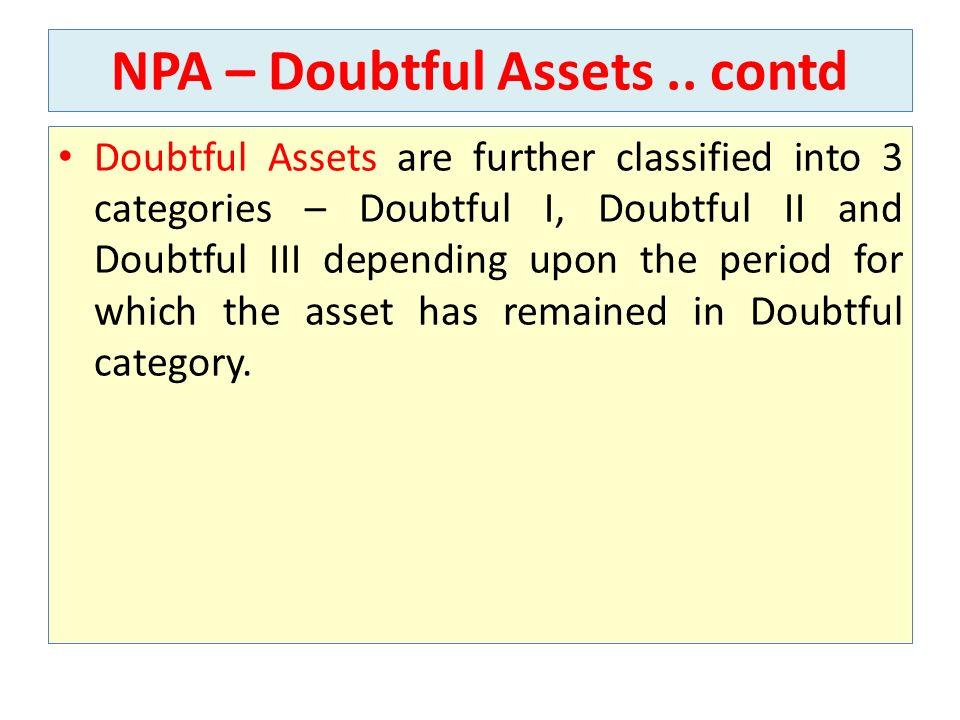 NPA – Doubtful Assets..