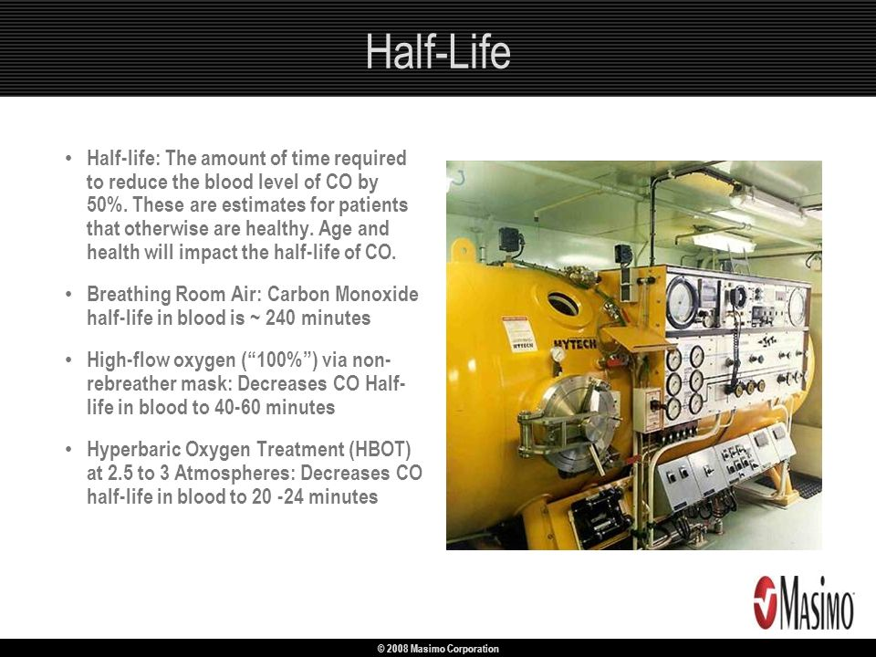 © 2008 Masimo Corporation Half-Life Half-life: The amount of time required to reduce the blood level of CO by 50%. These are estimates for patients th