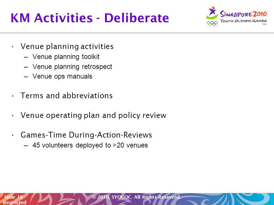 Slide 18 © 2010, SYOGOC. All Rights Reserved. Restricted KM Activities - Deliberate Venue planning activities –Venue planning toolkit –Venue planning