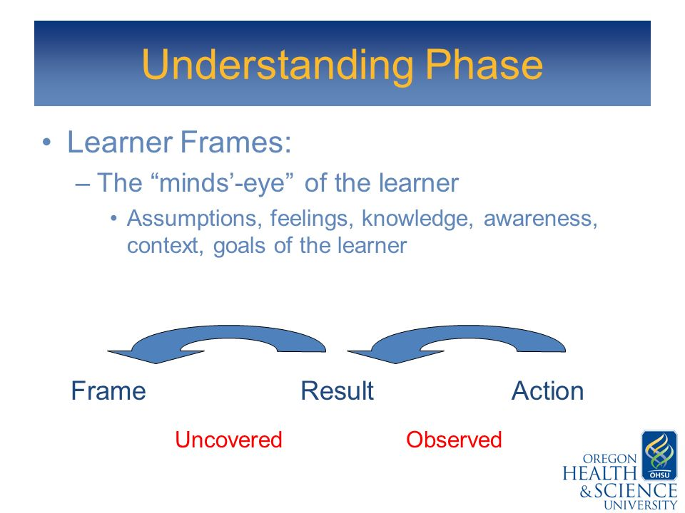 Understanding Phase Learner Frames: –The minds-eye of the learner Assumptions, feelings, knowledge, awareness, context, goals of the learner ActionRes