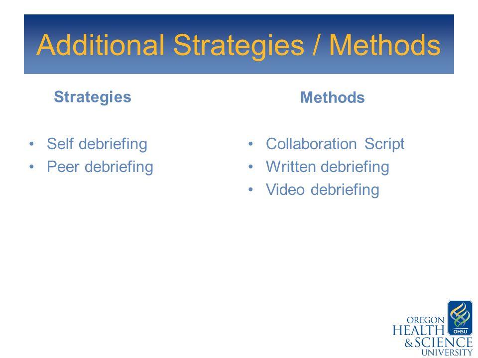 Additional Strategies / Methods Strategies Self debriefing Peer debriefing Methods Collaboration Script Written debriefing Video debriefing