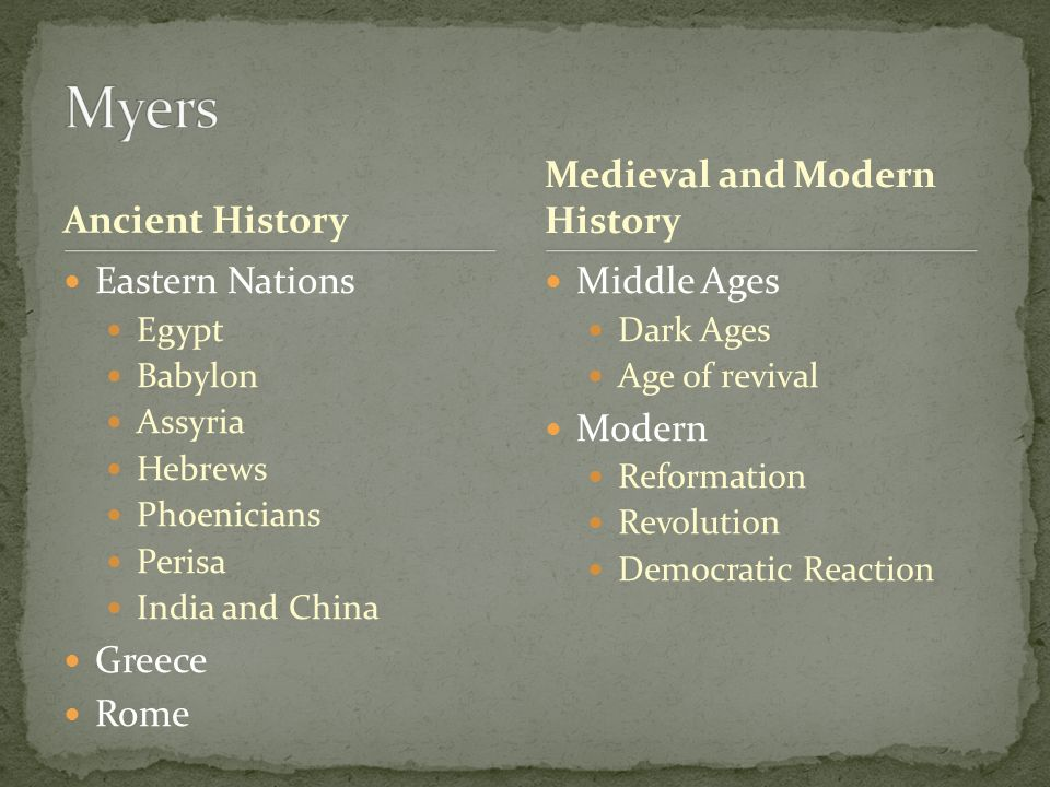 Ancient History Eastern Nations Egypt Babylon Assyria Hebrews Phoenicians Perisa India and China Greece Rome Middle Ages Dark Ages Age of revival Modern Reformation Revolution Democratic Reaction Medieval and Modern History