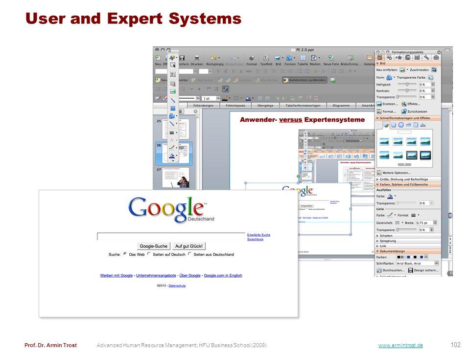 102 Prof. Dr. Armin TrostAdvanced Human Resource Management; HFU Business School (2009) www.armintrost.de User and Expert Systems