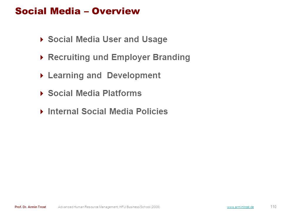 110 Prof. Dr. Armin TrostAdvanced Human Resource Management; HFU Business School (2009) www.armintrost.de Social Media – Overview Social Media User an