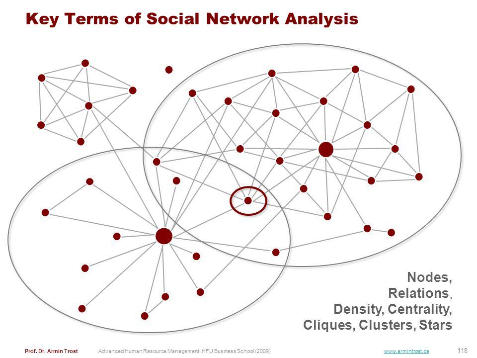 118 Prof. Dr. Armin TrostAdvanced Human Resource Management; HFU Business School (2009) www.armintrost.de Key Terms of Social Network Analysis Nodes,