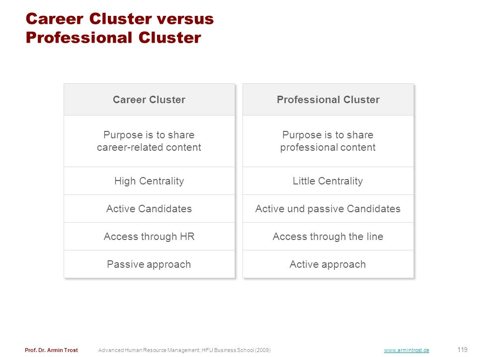 119 Prof. Dr. Armin TrostAdvanced Human Resource Management; HFU Business School (2009) www.armintrost.de Career Cluster versus Professional Cluster C