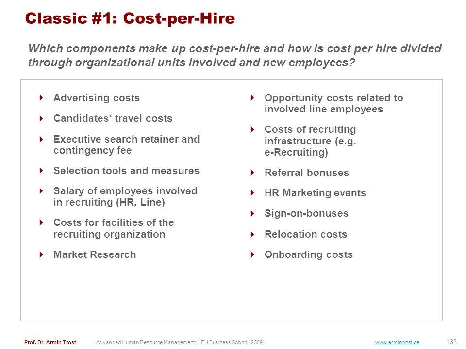 132 Prof. Dr. Armin TrostAdvanced Human Resource Management; HFU Business School (2009) www.armintrost.de Classic #1: Cost-per-Hire Advertising costs