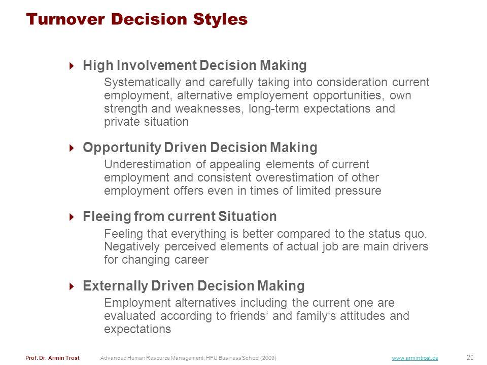 20 Prof. Dr. Armin TrostAdvanced Human Resource Management; HFU Business School (2009) www.armintrost.de Turnover Decision Styles High Involvement Dec