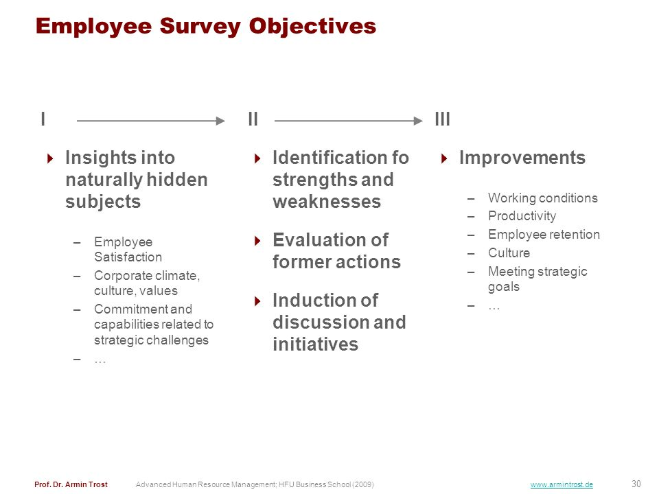 30 Prof. Dr. Armin TrostAdvanced Human Resource Management; HFU Business School (2009) www.armintrost.de Employee Survey Objectives II Identification