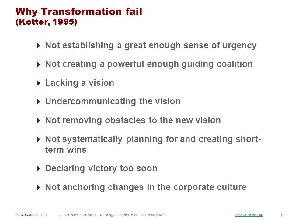 51 Prof. Dr. Armin TrostAdvanced Human Resource Management; HFU Business School (2009) www.armintrost.de Why Transformation fail (Kotter, 1995) Not es