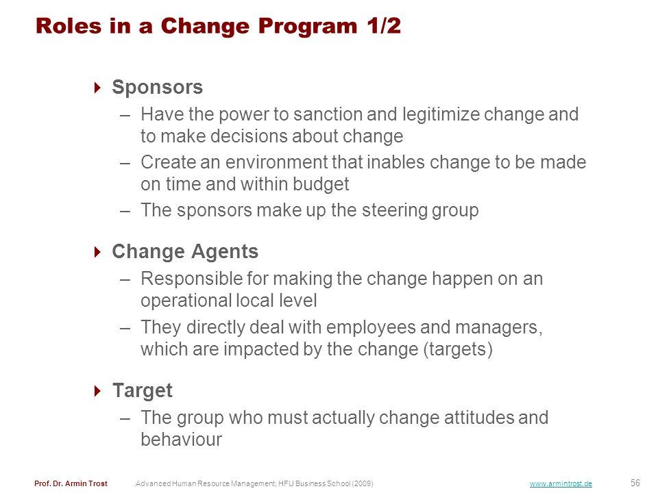 56 Prof. Dr. Armin TrostAdvanced Human Resource Management; HFU Business School (2009) www.armintrost.de Roles in a Change Program 1/2 Sponsors –Have