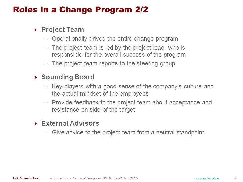 57 Prof. Dr. Armin TrostAdvanced Human Resource Management; HFU Business School (2009) www.armintrost.de Roles in a Change Program 2/2 Project Team –O