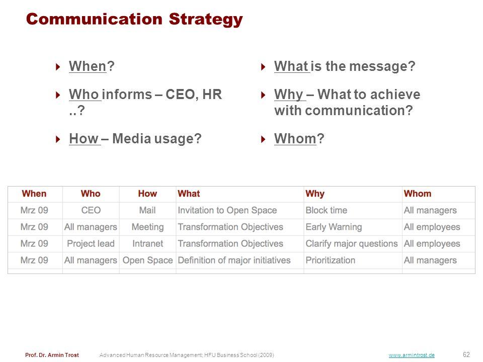 62 Prof. Dr. Armin TrostAdvanced Human Resource Management; HFU Business School (2009) www.armintrost.de Communication Strategy When? Who informs – CE