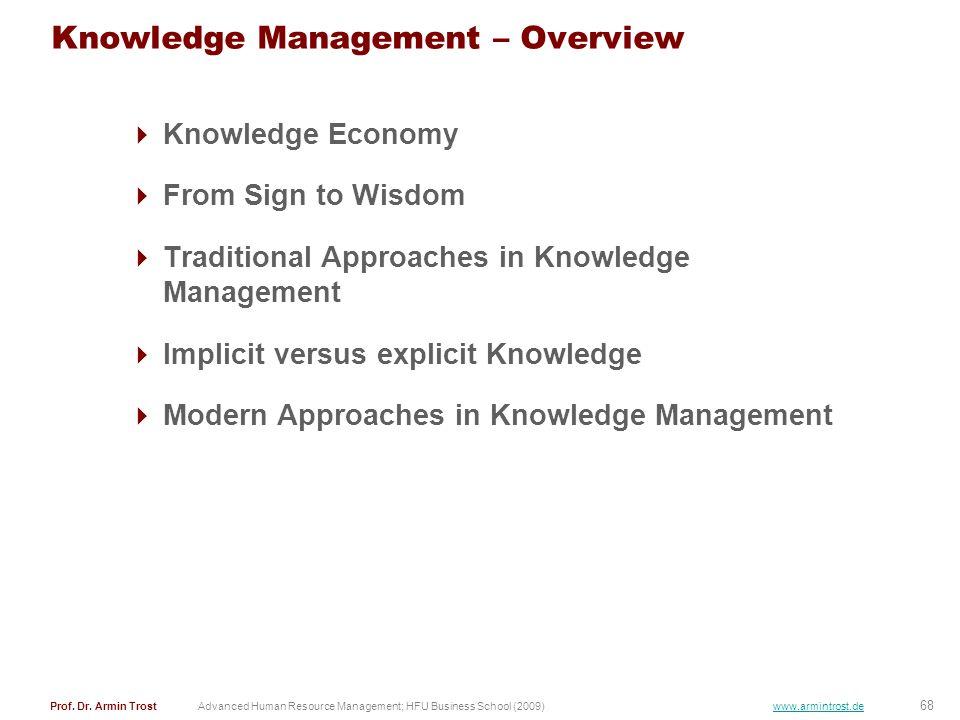 68 Prof. Dr. Armin TrostAdvanced Human Resource Management; HFU Business School (2009) www.armintrost.de Knowledge Management – Overview Knowledge Eco