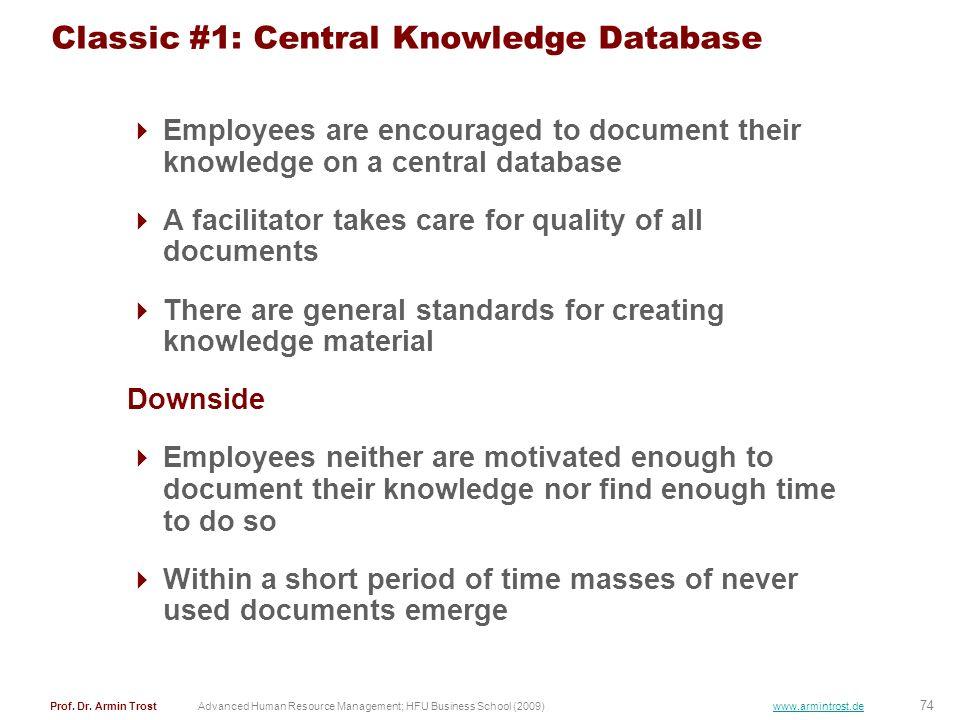 74 Prof. Dr. Armin TrostAdvanced Human Resource Management; HFU Business School (2009) www.armintrost.de Classic #1: Central Knowledge Database Employ