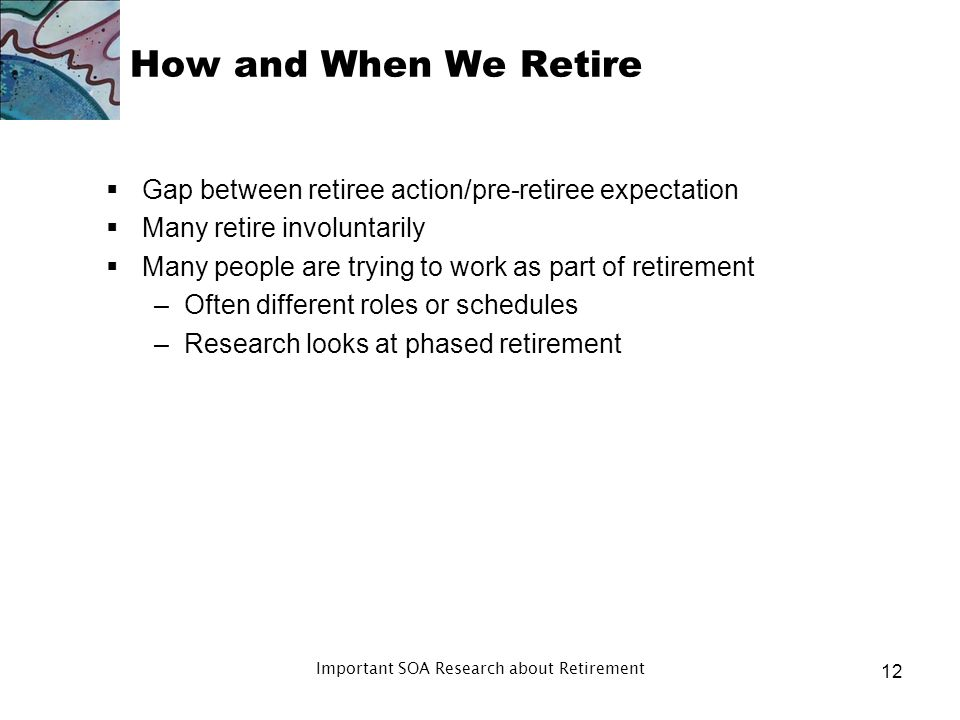 Post Retirement Risk Concerns Retiree concern about inflation risk is up in 2011 Source: Society of Actuaries, 2001-2011 Risks and Process of Retirement Surveys 2009 2007 2005 2003 2001 2011 How concerned are you that the value of your savings and investments might not keep up with inflation (in retirement).