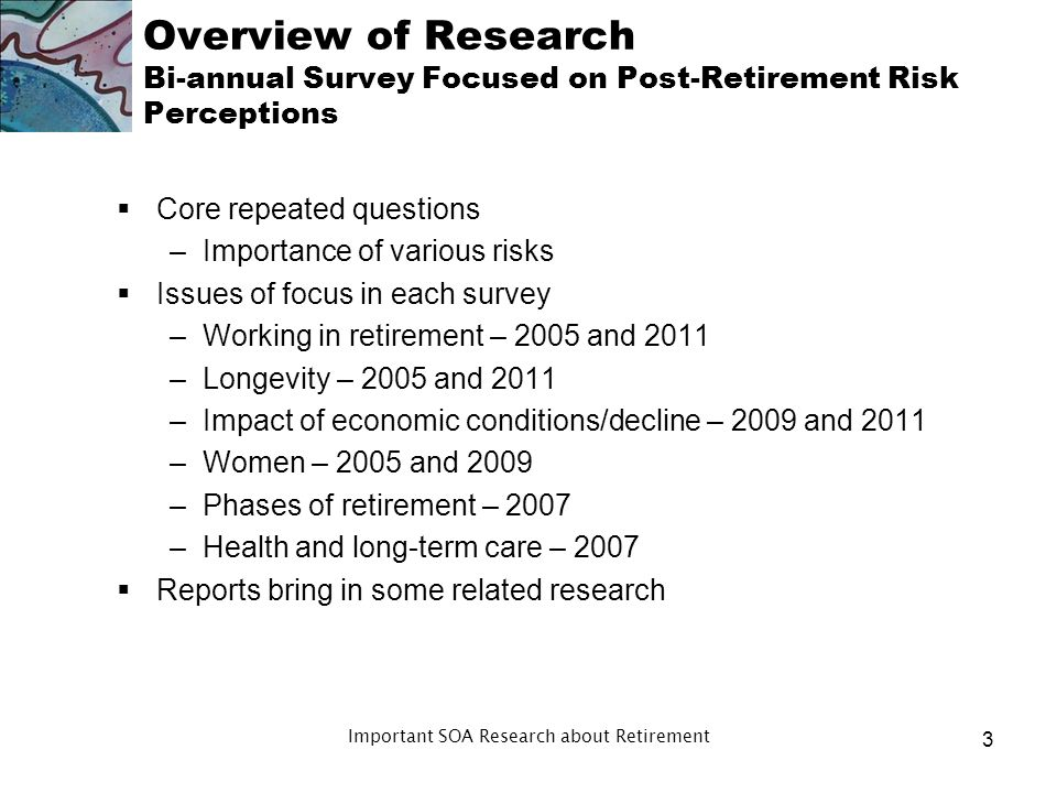 Overview of Research Bi-annual Survey Focused on Post-Retirement Risk Perceptions Core repeated questions –Importance of various risks Issues of focus in each survey –Working in retirement – 2005 and 2011 –Longevity – 2005 and 2011 –Impact of economic conditions/decline – 2009 and 2011 –Women – 2005 and 2009 –Phases of retirement – 2007 –Health and long-term care – 2007 Reports bring in some related research 3 Important SOA Research about Retirement