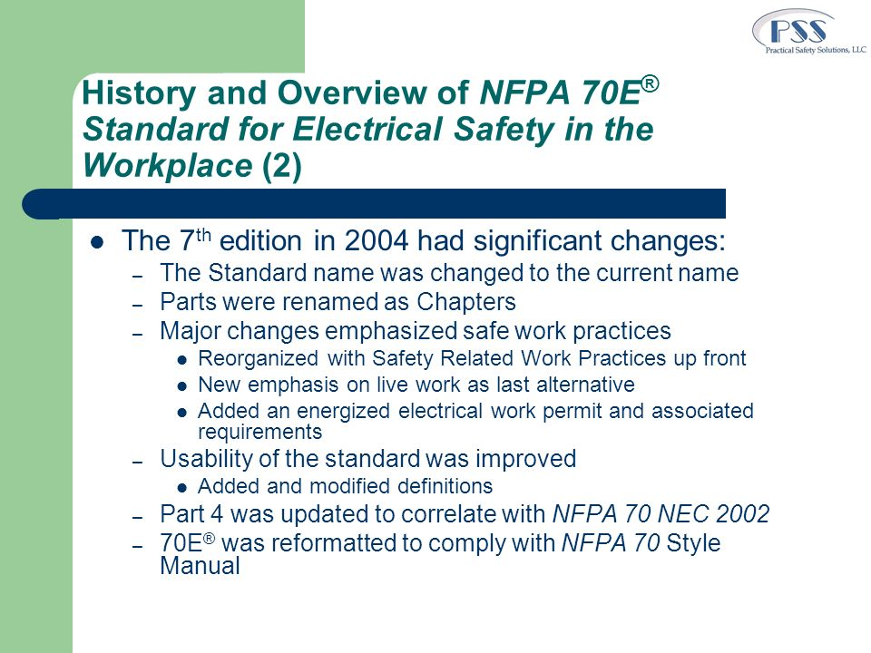 Making 70E Work First Things First – Conduct basic electrical safety training Qualified persons Unqualified persons Include current practices – Assessment of programs, practices and procedures v.