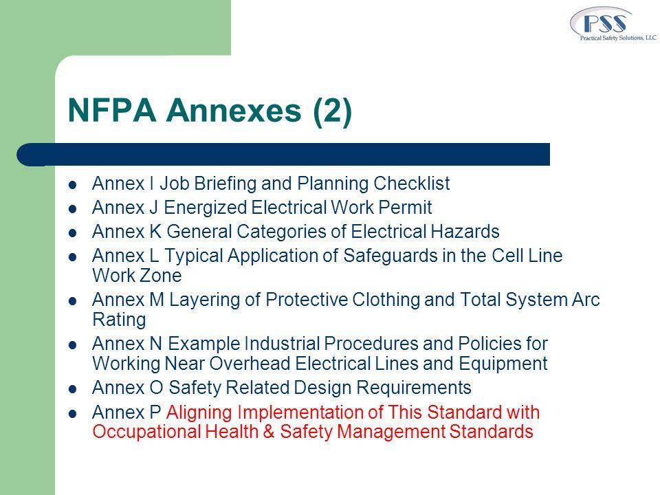 NFPA Annexes (2) Annex I Job Briefing and Planning Checklist Annex J Energized Electrical Work Permit Annex K General Categories of Electrical Hazards