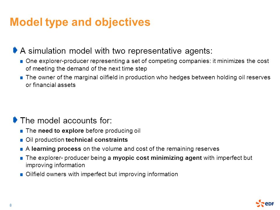 9 Model Structure The explorer-producer explores and produces to meet the (exogenous) demand at minimal cost assess the risk of holding oil as an asset The marginal oilfield owner Oil Price marginal production costHotelling scarcity rent improves the common knowledge on the remaining reserves Exploration-Production heuristics Hotelling scarcity rent calculation Learning process about reserves