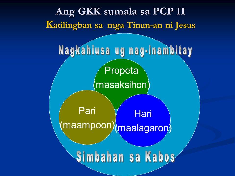 Propeta (masaksihon) Hari (maalagaron) Pari (maampoon) Ang GKK sumala sa PCP II K atilingban sa mga Tinun-an ni Jesus
