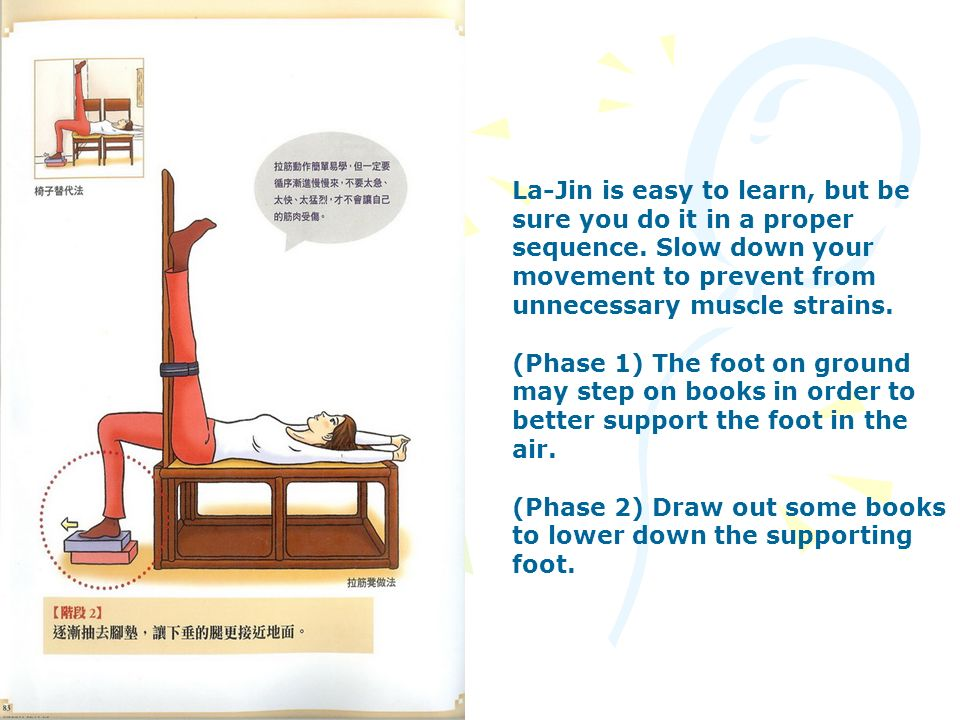 La-Jin is easy to learn, but be sure you do it in a proper sequence. Slow down your movement to prevent from unnecessary muscle strains. (Phase 1) The