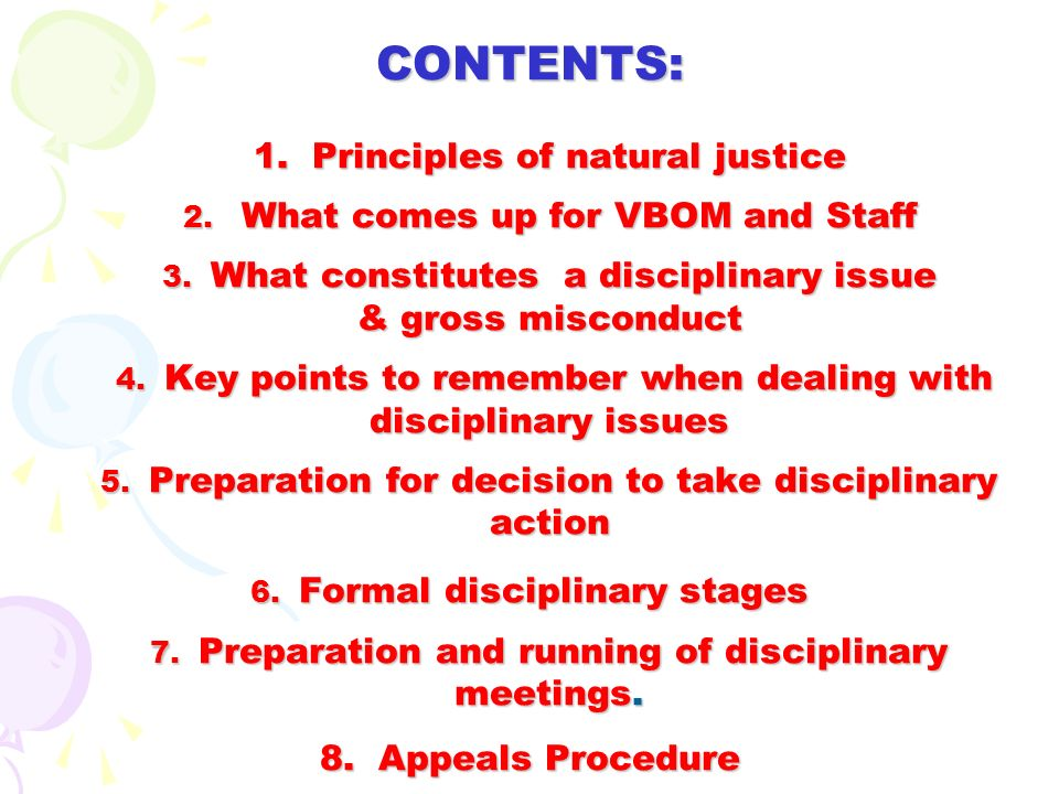 3. WHAT IS A DISCIPLINARY ISSUE…….. EXAMPLES OF MIS-CONDUCT & GROSS MIS-CONDUCT