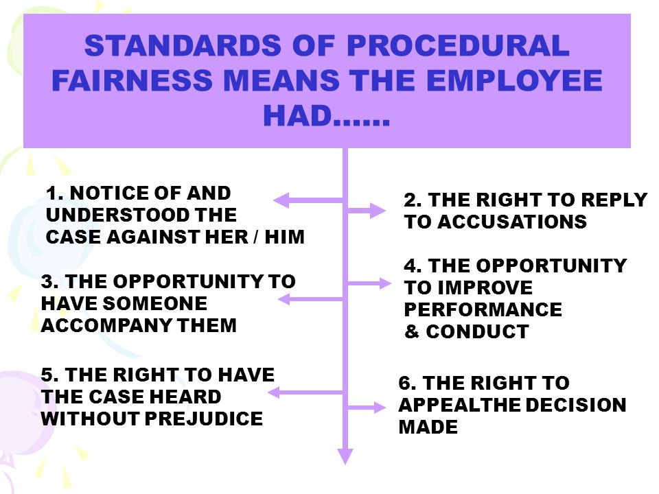 REQUIRMENTS OF PROCEDURAL FAIRNESS PERSISTENT PATTERNS OF BEHAVIOUR - EVIDENCE THAT THE EMPLOYER GAVE THE EMPLOYEE PROPER WARNINGS AND A CHANCE TO IMPROVE SINGLE SERIOUS INCIDENT - EVIDENCE THAT A FULL AND FAIR INVESTIGATION TOOK PLACE