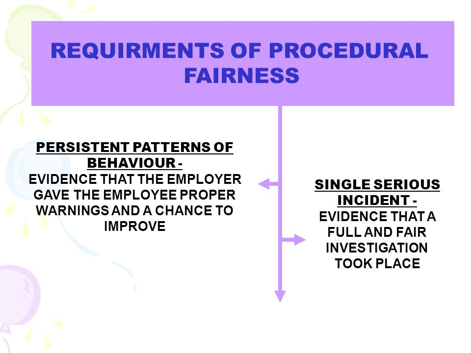 REQUIRMENTS OF PROCEDURAL FAIRNESS PERSISTENT PATTERNS OF BEHAVIOUR - EVIDENCE THAT THE EMPLOYER GAVE THE EMPLOYEE PROPER WARNINGS AND A CHANCE TO IMP