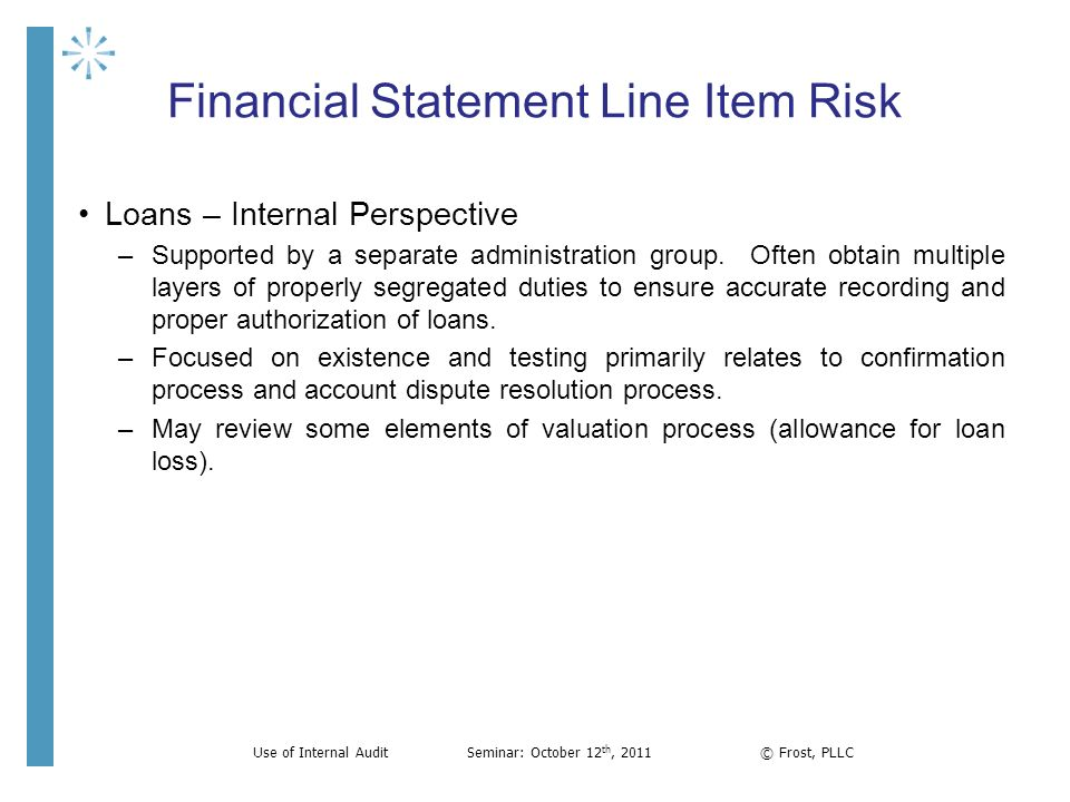 Financial Statement Line Item Risk Loans – Internal Perspective –Supported by a separate administration group. Often obtain multiple layers of properl