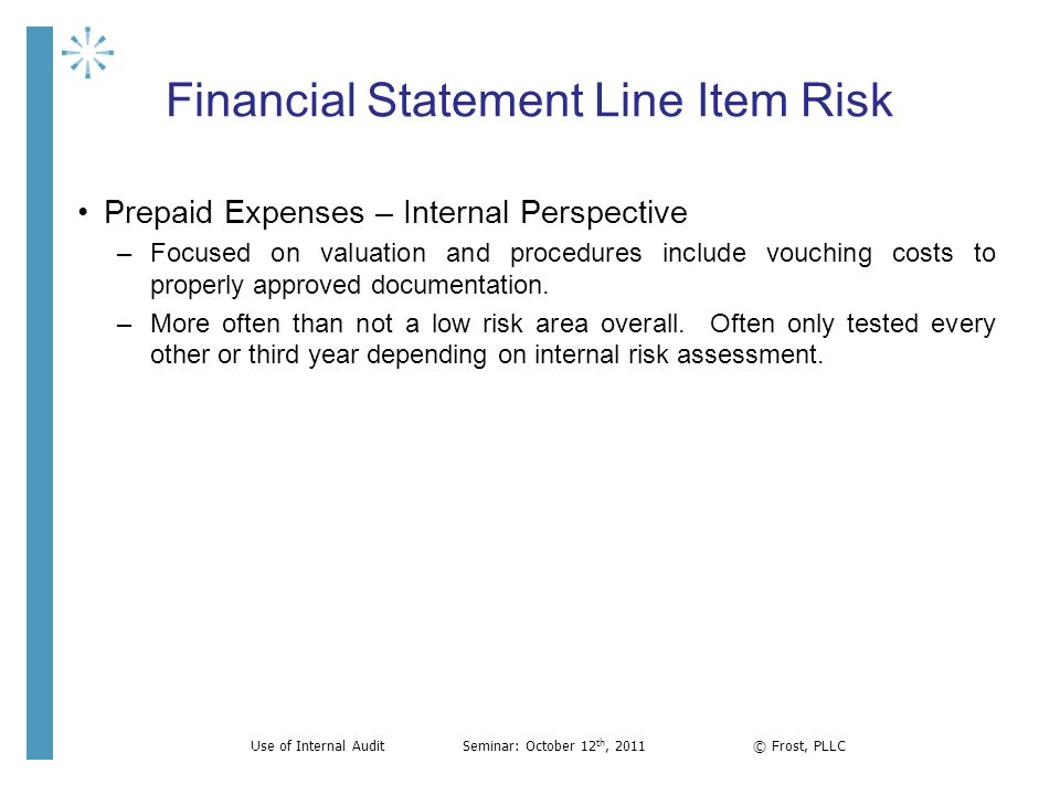 Financial Statement Line Item Risk Prepaid Expenses – Internal Perspective –Focused on valuation and procedures include vouching costs to properly app