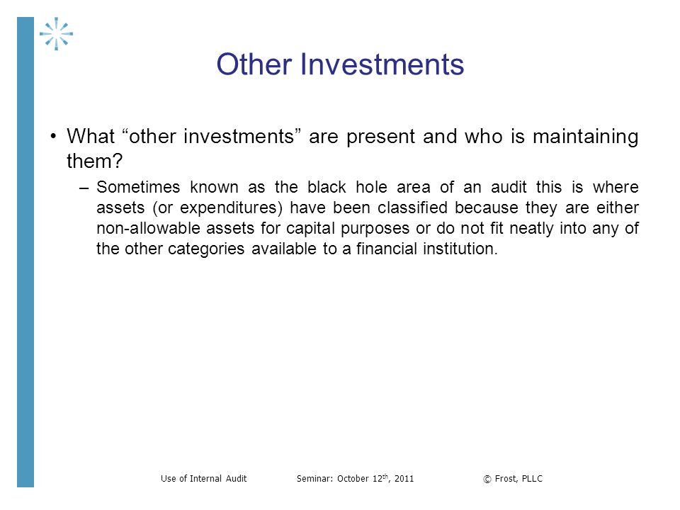 Other Investments What other investments are present and who is maintaining them? –Sometimes known as the black hole area of an audit this is where as