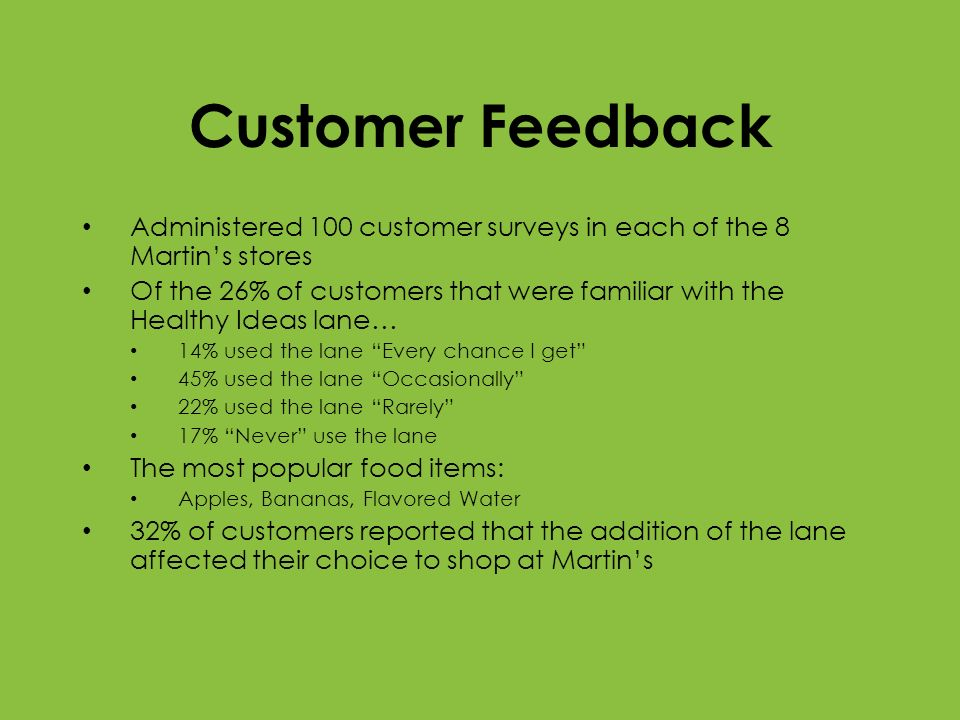 Customer Feedback Administered 100 customer surveys in each of the 8 Martins stores Of the 26% of customers that were familiar with the Healthy Ideas