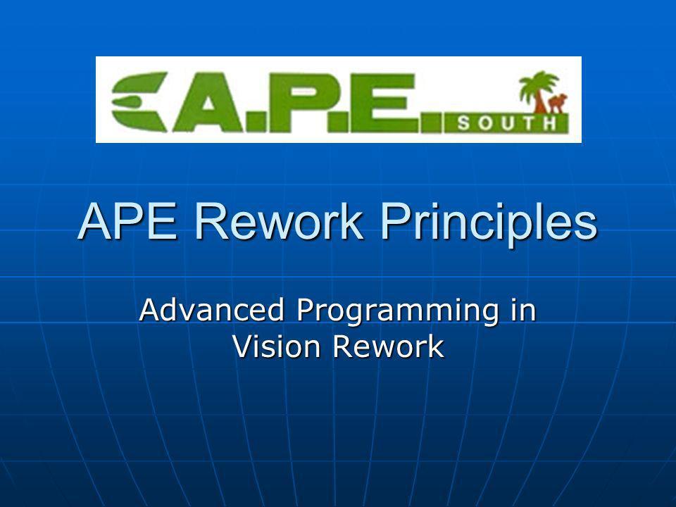 APE Rework Principles Advanced Programming in Vision Rework