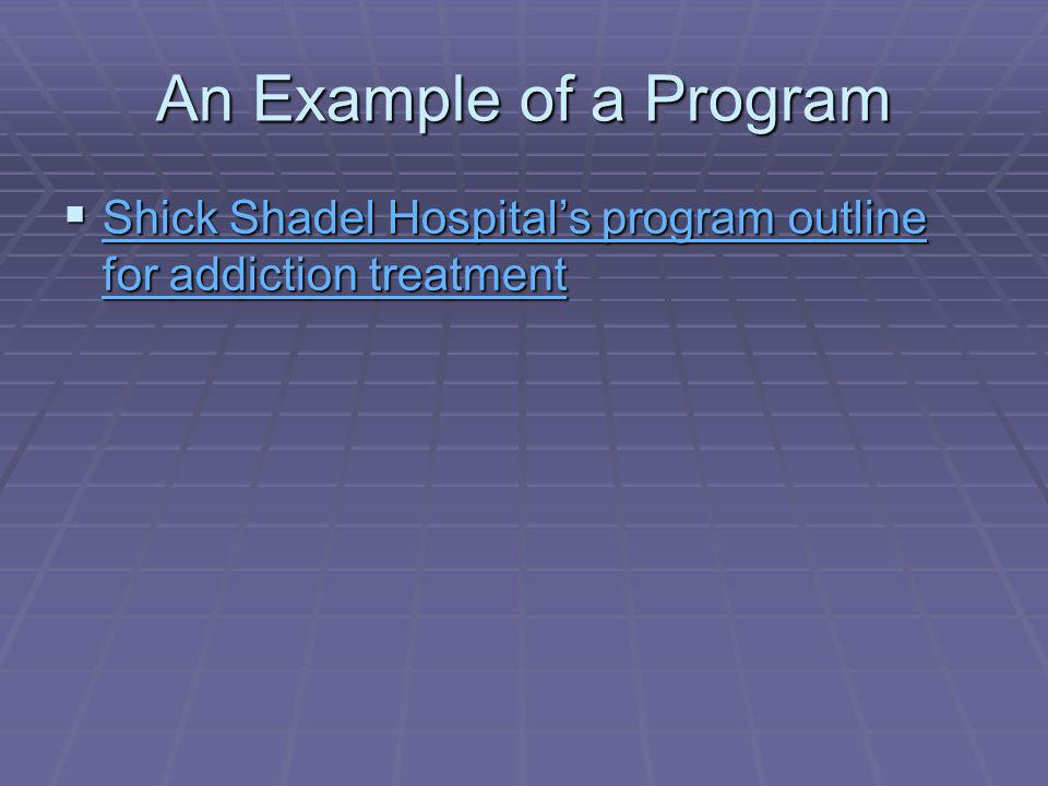 An Example of a Program Shick Shadel Hospitals program outline for addiction treatment Shick Shadel Hospitals program outline for addiction treatment Shick Shadel Hospitals program outline for addiction treatment Shick Shadel Hospitals program outline for addiction treatment