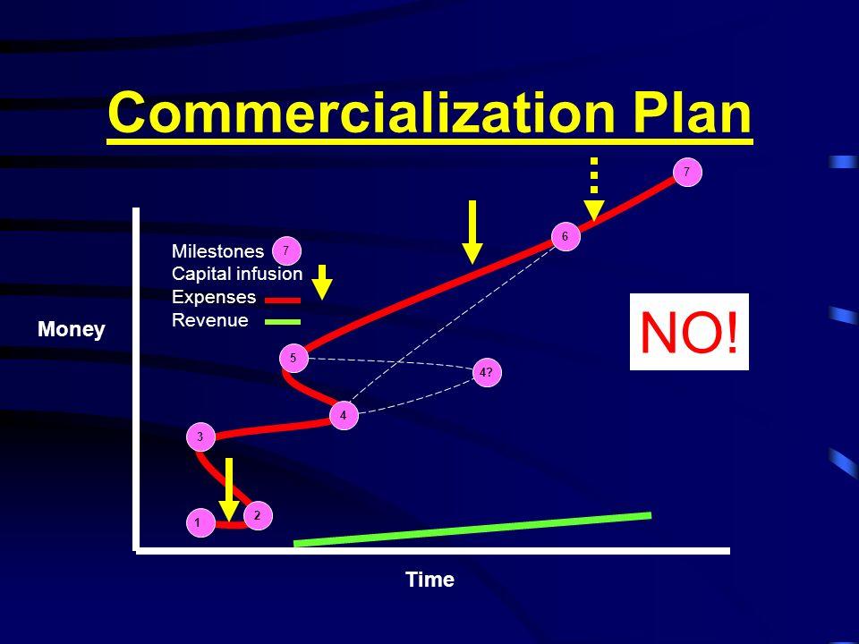 Commercialization Plan 1 2 3 4 5 6 7 Time Money Milestones Capital infusion Expenses Revenue 7 NO! 4?
