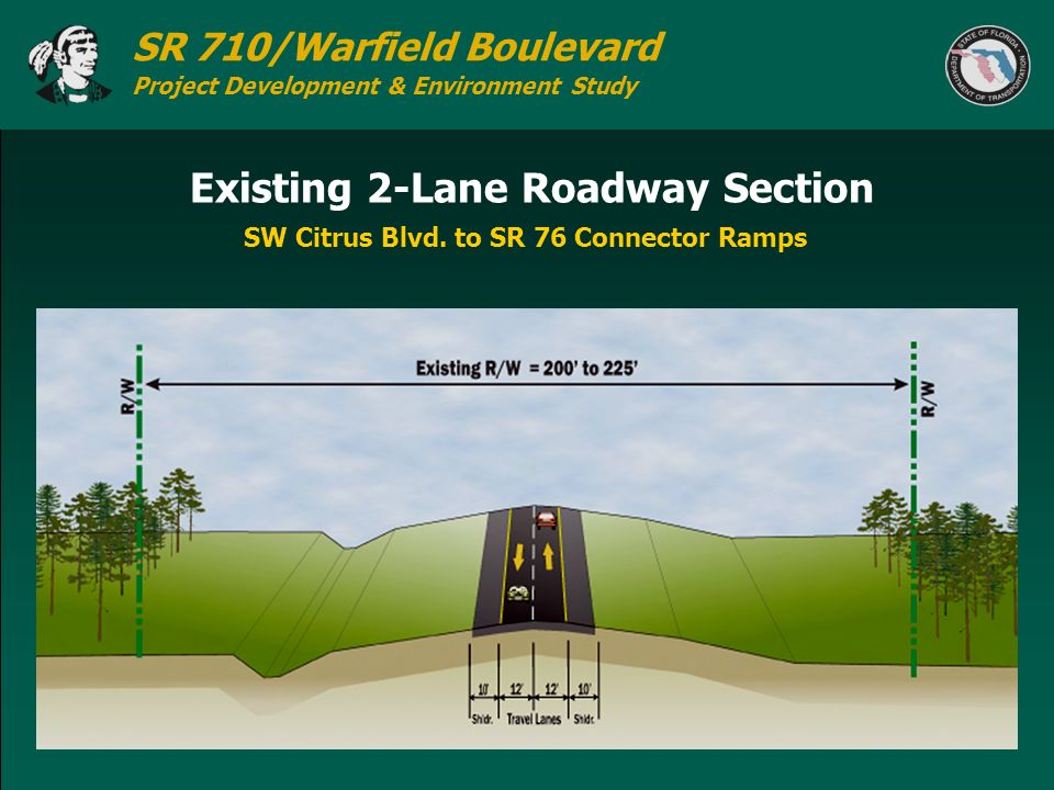 SR 710/Warfield Boulevard Project Development & Environment Study Existing 2-Lane Roadway Section SW Citrus Blvd. to SR 76 Connector Ramps
