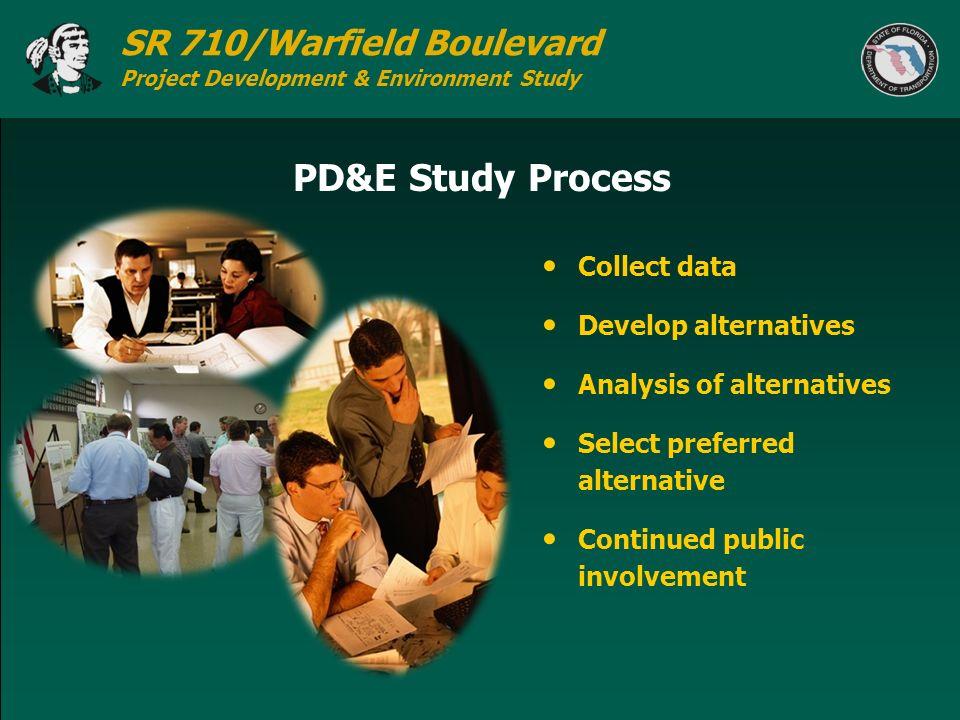 SR 710/Warfield Boulevard Project Development & Environment Study PD&E Study Process Collect data Develop alternatives Analysis of alternatives Select