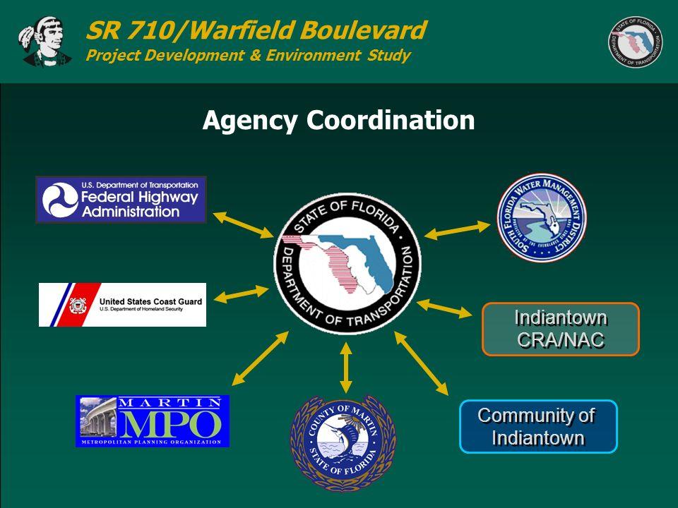 SR 710/Warfield Boulevard Project Development & Environment Study Agency Coordination Community of Indiantown Community of Indiantown CRA/NAC Indianto