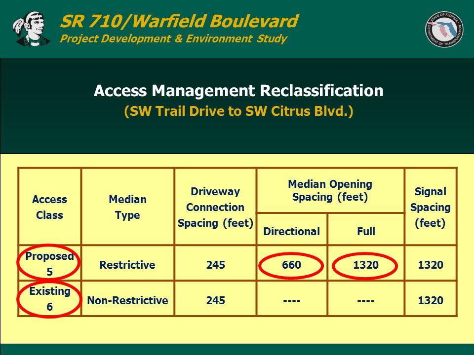 SR 710/Warfield Boulevard Project Development & Environment Study Access Management Reclassification (SW Trail Drive to SW Citrus Blvd.) Access Class