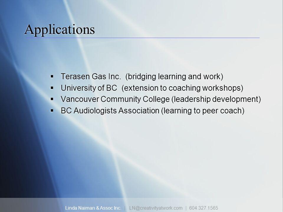 Linda Naiman & Assoc Inc. | LN@creativityatwork.com | 604.327.1565 Applications Terasen Gas Inc. (bridging learning and work) University of BC (extens