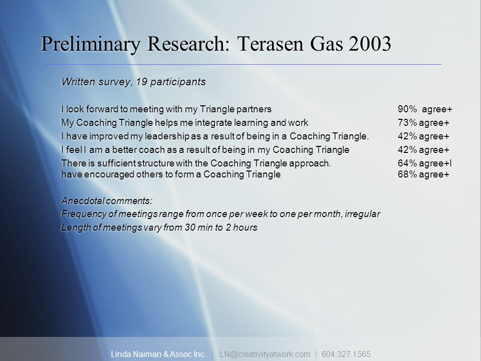 Linda Naiman & Assoc Inc. | LN@creativityatwork.com | 604.327.1565 Preliminary Research: Terasen Gas 2003 Written survey, 19 participants I look forwa