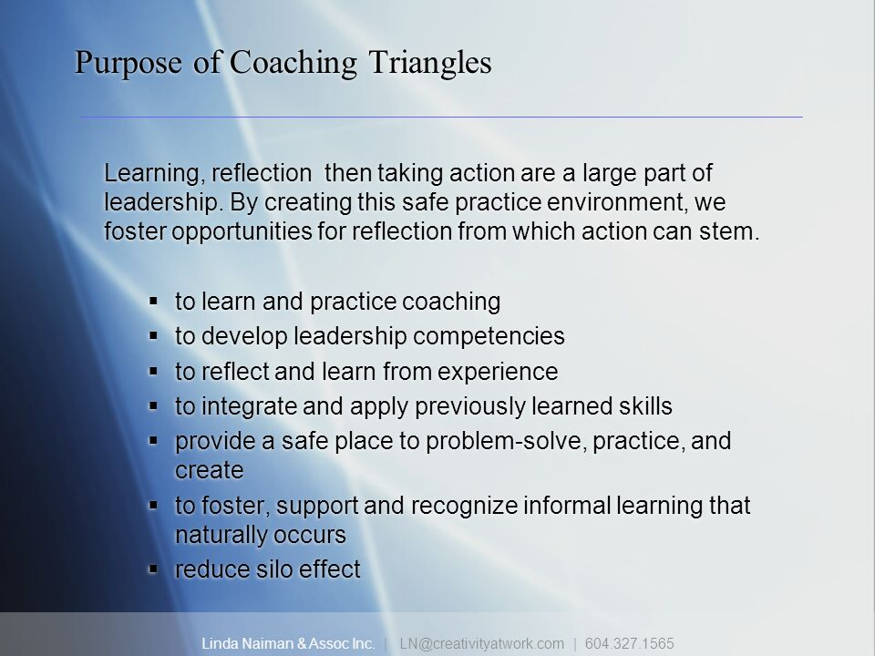 Linda Naiman & Assoc Inc. | LN@creativityatwork.com | 604.327.1565 Purpose of Coaching Triangles Learning, reflection then taking action are a large p