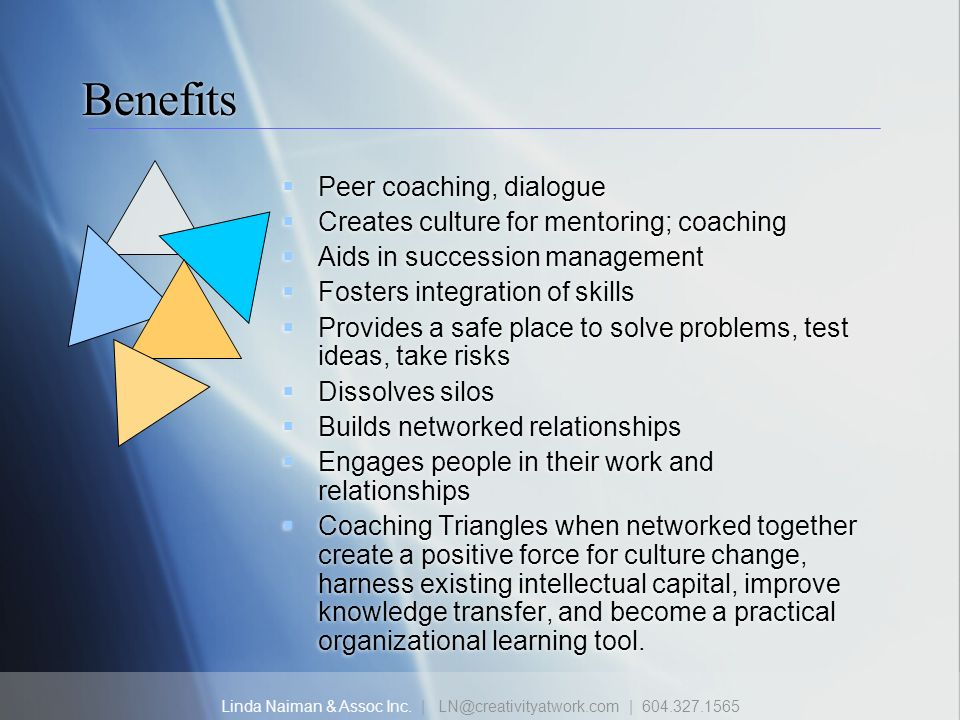 Linda Naiman & Assoc Inc. | LN@creativityatwork.com | 604.327.1565 Benefits Peer coaching, dialogue Creates culture for mentoring; coaching Aids in su
