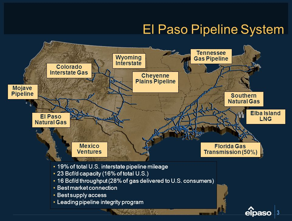 3 El Paso Pipeline System 19% of total U.S. interstate pipeline mileage 23 Bcf/d capacity (16% of total U.S.) 16 Bcf/d throughput (28% of gas delivere