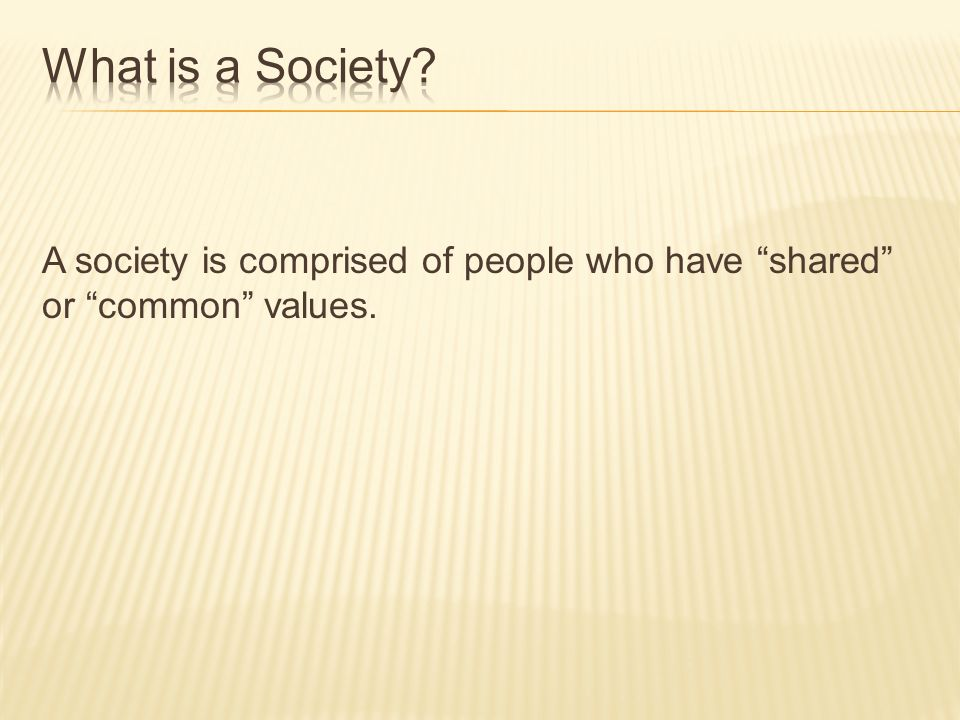 A society is comprised of people who have shared or common values.