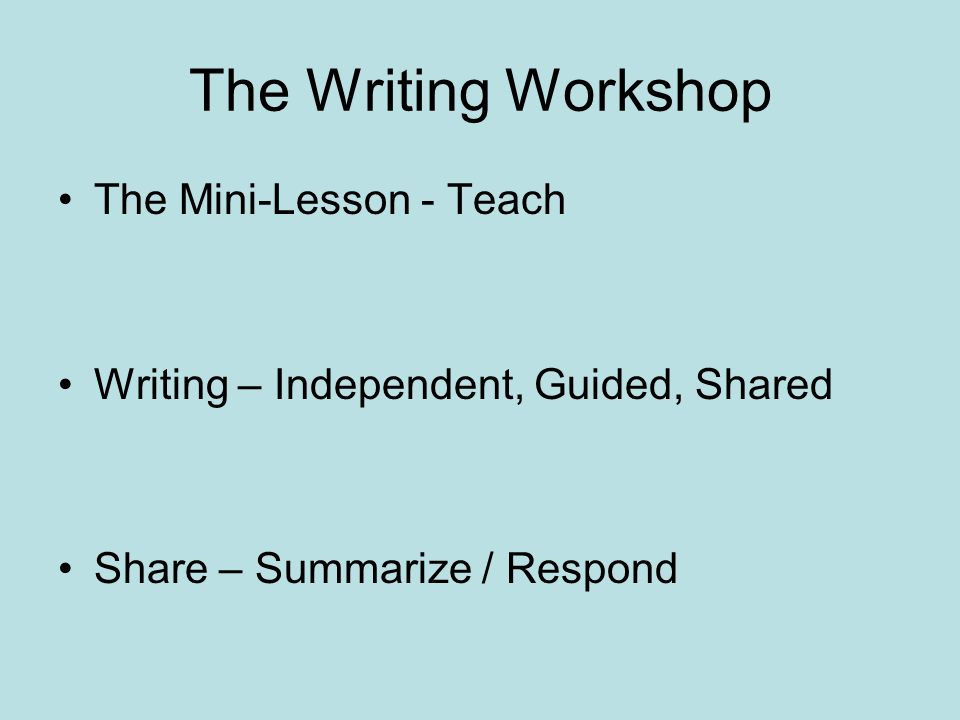 The Writing Workshop The Mini-Lesson - Teach Writing – Independent, Guided, Shared Share – Summarize / Respond