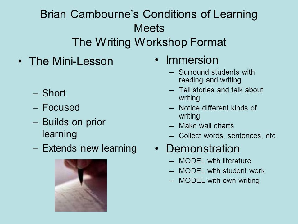 Brian Cambournes Conditions of Learning Meets The Writing Workshop Format The Mini-Lesson –Short –Focused –Builds on prior learning –Extends new learn